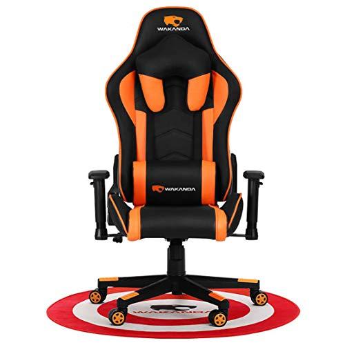 HIOD Gaming Stuhl Schreibtischstuhl 2D Multifunktion Armlehnen Ergonomischer Design Ledersessel,Orange