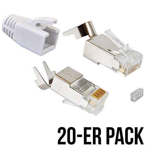 VESVITO 20er Pack RJ45 Crimpstecker für CAT 7A CAT 7 CAT 6A Kabel, bis 10 Gigabit Ethernet, Netzwerkstecker Steckverbinder mit Knickschutz in Weiß für Verlegekabel Netzwerk LAN