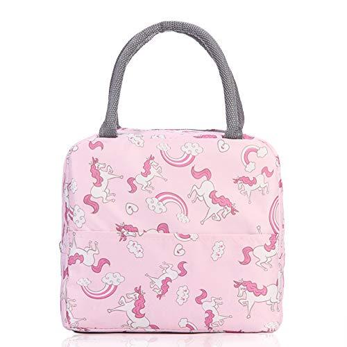 VLikeze Isolierte Lunchtasche, weit offen, Lunchbox, Picknick-Tasche, auslaufsicher, Kühltasche, wasserdicht, für Damen, Herren, Mädchen, Kinder (rosa Pferde)