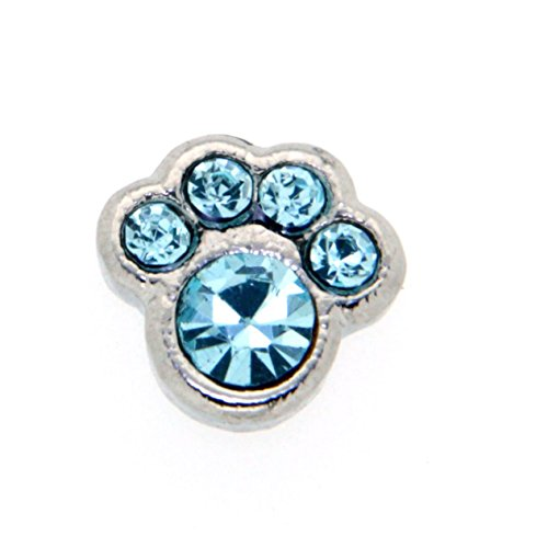 March Birth Month Paw Print Floating Charm for Heart Lockets, Silvertone