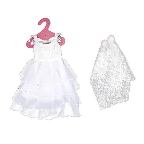 Weiß Hochzeitskleid Brautkleid Abendkleid Ballkleid Kleid Kleidung mit Brautschleier für 18 Zoll Puppen
