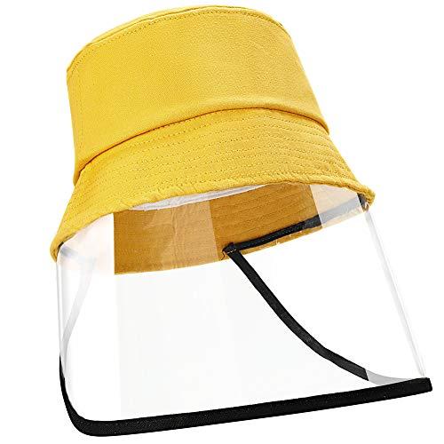 EXTSUD Kinder Schutzmütze Fischerhut, Anti-UV-Sonhut für Outdoor Unisex Gesichtschutz Mütze Schutzhutabdeckung Anti Staub, Anti Fog, Anti-Beschlag, Gelb