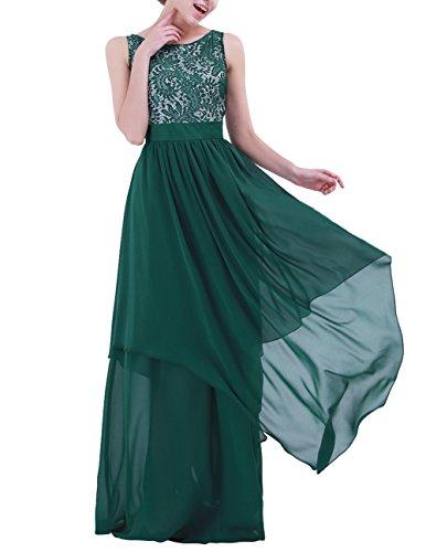 IEFIEL Vestido Largo de Fiesta Cóctel Boda Dama de Honor Mujer Vestido Encaje Floreado Flores Traje de Noche Gala Chica Chifón Gasa Verde Oscuro M (Pecho: 88-94cm, Cintura: 71cm)