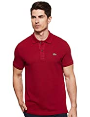 Slim fit: Slim through the chest and waist for a form fitted and contemporary silhouette Lacoste original cotton petit piqué fabric is both soft and durable Two button placket Ribbed polo collar and armbands Signature embroidered green crocodile on l...