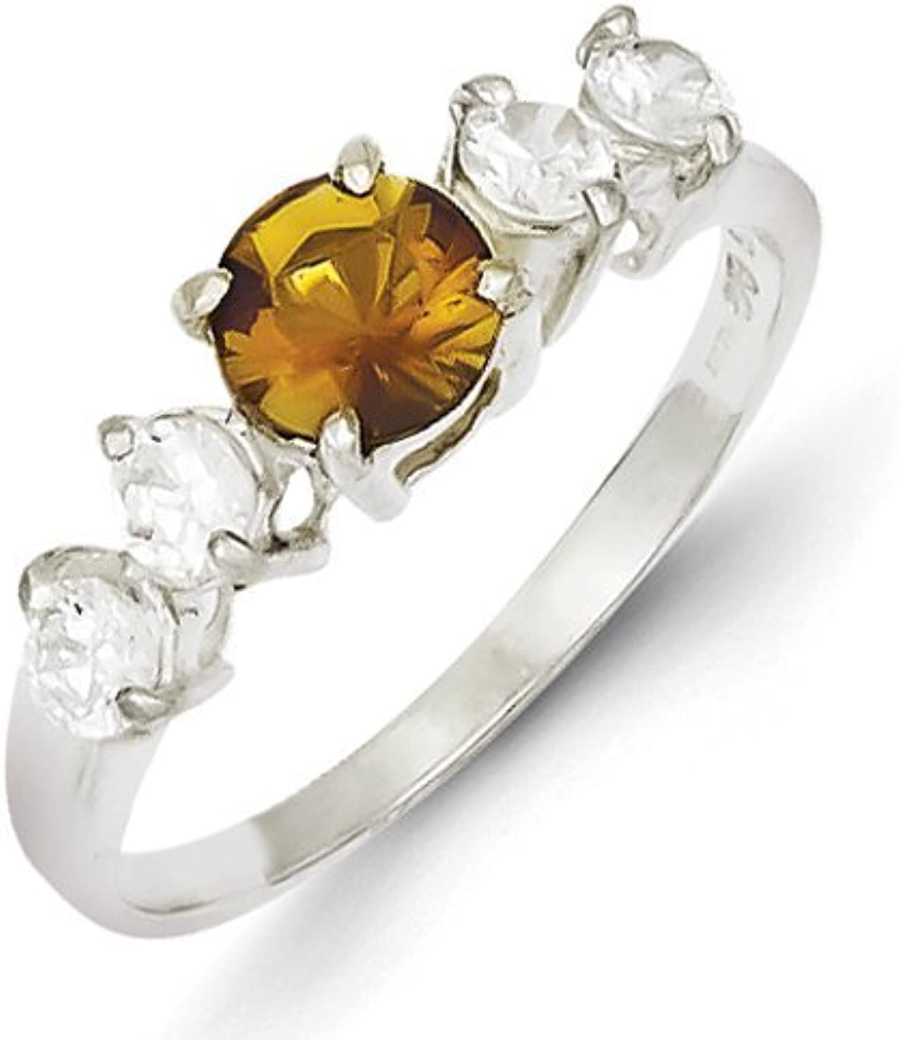 gold and Watches Sterling Silver Yellow Round CZ w Side Stones Ring