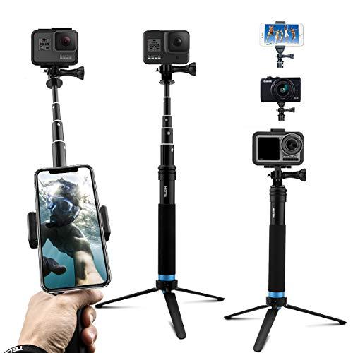 AuyKoo Bastone Selfie per Gopro Camera, Selfie Stick Telescopico Palo di Monopiede Pole con Treppiede per Gopro hero9/hero8/hero7/6/5 Action Camera, Cellulare, Fotocamera, DJI OSMO Action Camera