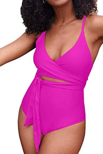 ESONLAR Women's Tummy Control Swimsuit Wrap Waist Belted Monokini One Piece Bathing Suit Rosy S