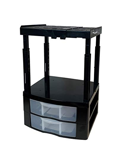 Tools for School Locker Drawer and Height Adjustable Shelf. Includes 2 Removable Drawer Dividers. Heavy Duty. Fits 12 Inch Wide Locker (Black, Double Drawer)