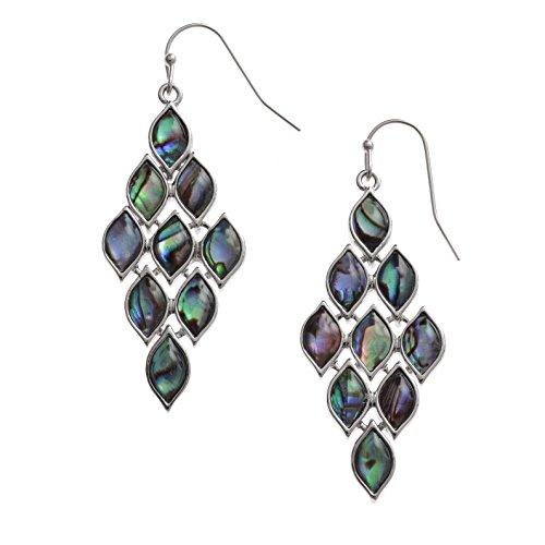 Kiara Jewellery - Pendientes de gran tamaño con incrustaciones de concha paua/abulón en tono verde azulado imitando escamas de pezColor plata, antideslustre, hipoalergénico, chapado en rodio.