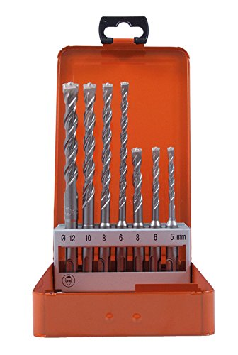 Projahn 83300 Hammerbohrer Rocket 3 PLUS Set 7-tlg. , Beton Bohrer Set, robusten Crushern, Schaufeleffekt , punktgenaues Anbohren; 4-spiralige Bohrkörper Geometrie; Reduzierte Vibration , SDS-Plus