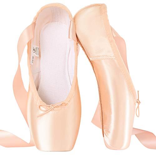 Zapatillas de Ballet de Punta Zapatillas de Danza Profesionales Rosadas con Cinta Cosida y Almohadillas de Silicona para niñas y Mujeres