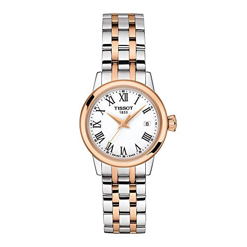 Tissot orologio Classic Dream Lady 28mm bianco quarzo acciaio finitura PVD oro rosa T129.210.22.013.00