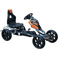 HOMCOM Go Kart Racing Deportivo Coche de Pedales para Niños 3-8 Años con Asiento Ajustable Embrague y Freno Ruedas de Goma 122x60x70cm Negro y Naranja