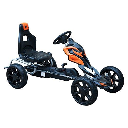 HOMCOM Go Kart Racing Deportivo Coche de Pedales para Niños +5 Años con Asiento Ajustable Embrague y Freno Ruedas de Goma 122x60x70cm Negro y Naranja