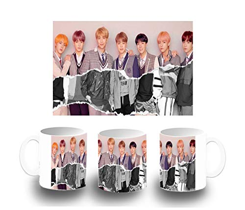MERCHANDMANIA Taza Blanca BTS Korea Fake Love Music Color mug
