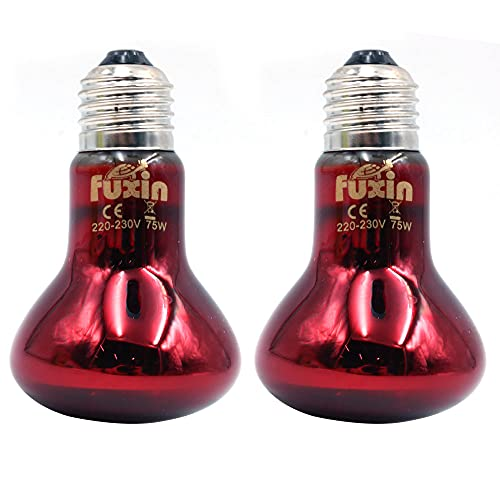 ANCLLO 2 bombillas de calefacción para reptiles, lámpara de calor infrarroja duradera, bombilla de luz de calentamiento, luz roja para mascotas para reptiles y lagartos anfibios, 220-240 V (75 W)