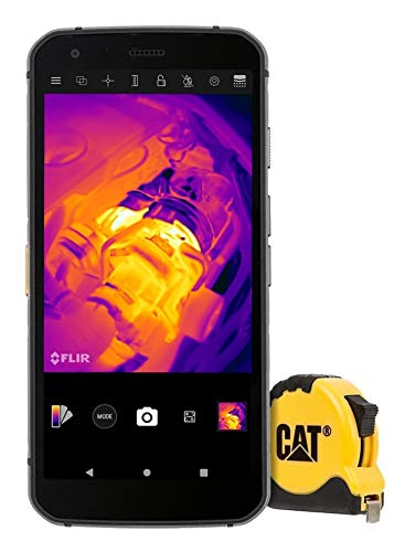 CAT S62 Pro Robustes Outdoor Smartphone mit FLIR Wärmebildkamera (5.7 Zoll FHD+ Display, 128 GB Speicher, 6 GB RAM, Dual-SIM, IP68, 4G, Android 10) inkl. CAT Maßband [Exklusiv bei Amazon] schwarz