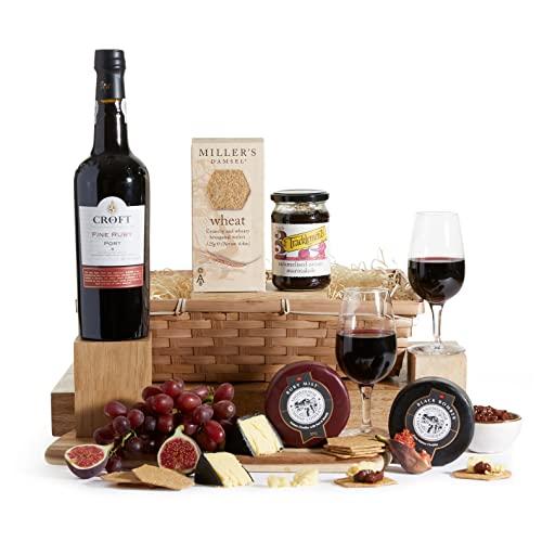 Luxury Port & Cheese Gift Hamper - Full Bottle Port Hampers Range - Award Winning Cheese With Fine Port Gifts