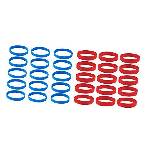 Sharplace 30 Stück Silikon-Armbänder Wasserfest Rubber Sportarmband Gummiarmband Bracelets, Blau + Rot