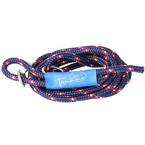 Taumur Klakinnborg - leichte City Hundeleine - dunkelblau/weiß/rot - Leine für kleine Hunde aus robustem PPM
