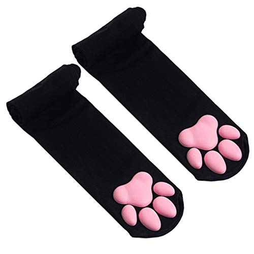 Thigh High Socks, Pink Thigh High Socks Cute Cat Paw Pad Socks for Women Kitten Stockings Lolita Cosplay 【Black】