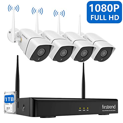 Security Camera System Wireless, 1080P 8CH Wireless Home Security Systems with 4PCS 2MP Full HD Cameras 1TB Hard Drive Night Vision and Free App for Indoor Outdoor Video Surveillance