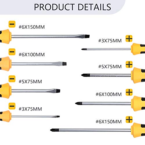 KER Magnetic Screwdriver Set 8 PCS Professional Cushion Grip Magnetic Tip 5 Flathead 5 Phillips Tool Kit with Case Industrial strength for household and light industry
