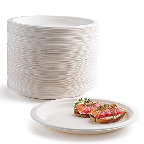 Il vassoio di carta usa e getta Supe è 100% biodegradabile e compostabile, realizzato in fibra di canna da zucchero naturale, molto adatto per barbecue, feste, matrimoni (200 pezzi, 22,9 cm)