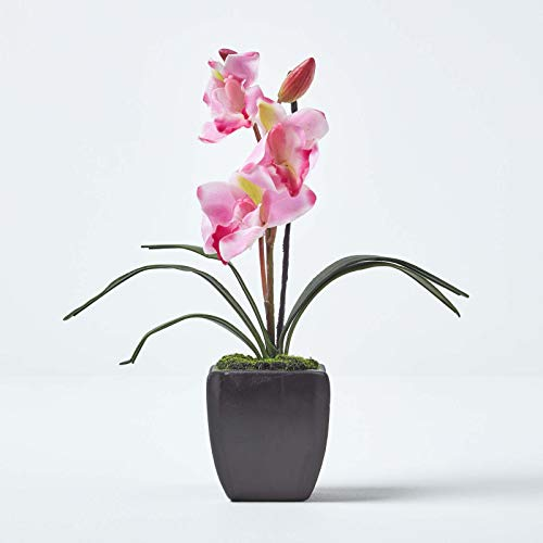 Homescapes Small Light Pink Artificial Orchid with Lifelike Silk Flowers & Long Green Leaves Pastel Pink Oriental Cymbidium Flower in Small Black Mat Planter Square Pot 32cm Tall For Indoor Decoration