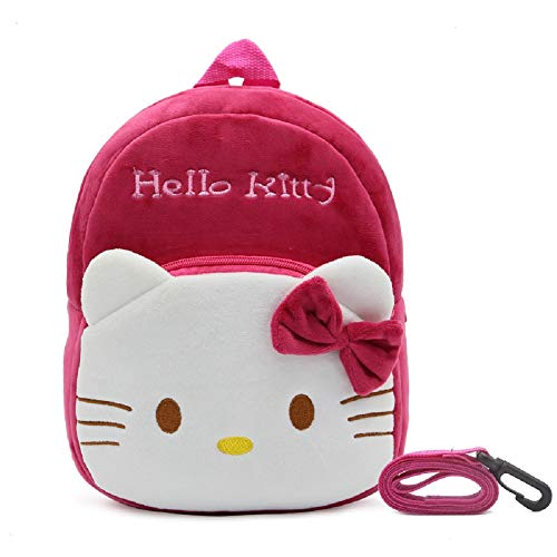 CHDJ Sac à Dos en Peluche avec Harnais de sécurité et Laisse pour Enfant Rouge R Hello Kitty 2-4 Ans