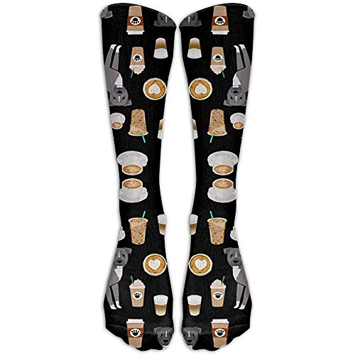 NA lange grijze mantel koffie latte café hond zwarte sokken dames winter vintage katoen wol breien lange crew sokken