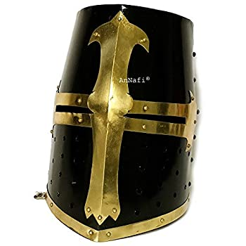 AnNafi Medieval Knight Crusader Armour Helmet | Black Finish Sugarloaf and Brass Design Templar Helmet | Great Greek Roman Spartan Helm A+ | Wearable For Adult | Medieval Costumes |