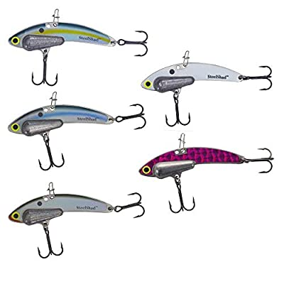 SteelShad Heavy Series (1/2 oz) - 5 Pack - Lipless Crankbait for Bass, Walleye, Trout, Crappie, Perch and Other Gamefish