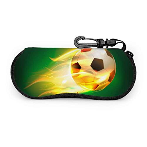 Funda de gafas de sol protectora contra incendios de fútbol deportivo creativo fresco Funda de gafas de sol para hombre Funda de neopreno portátil con cremallera Estuche suave Funda de gafas de sol