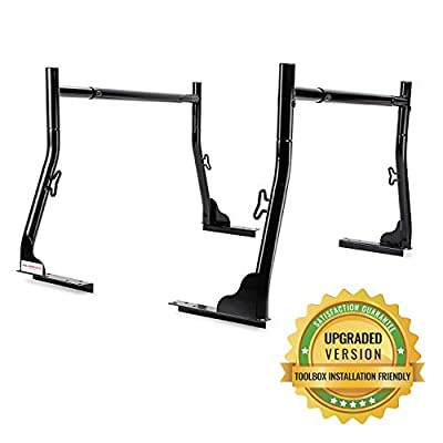 AA-Racks Model X31 800Ibs Capacity Extendable Steel Pick-Up Truck Ladder Rack Two-bar Set - Matte Black