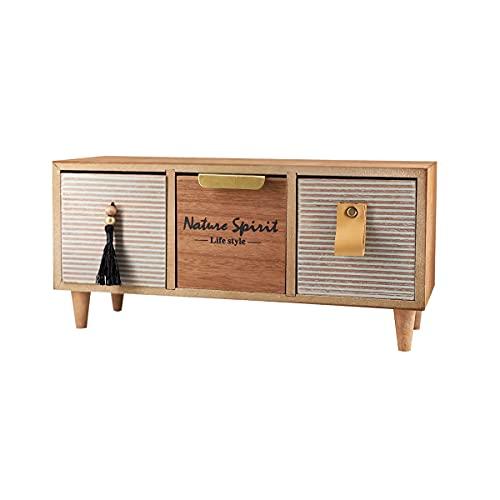 Caja de Madera Almacenamiento Joyero Organizador con Cajón Vintage Mini Mueble para Escritorio, Hogar, Decoracion Caja de Joyeria (Modelo 2)