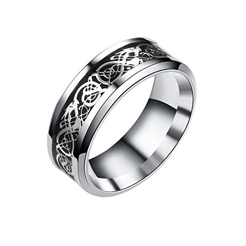 Rings Hansee, Retro Style Gold and Silver Dragon Pattern Ring Round Titanium Steel Wedding Band Ring Jewelry for Men(C,5)