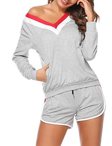 Akalnny Damen Zweiteiler Pyjamas V-Ausschnitt Sportanzug Trainingsanzug Jogging Sportkleidung Sommer Casual Sportswear Pyjamas Grau S