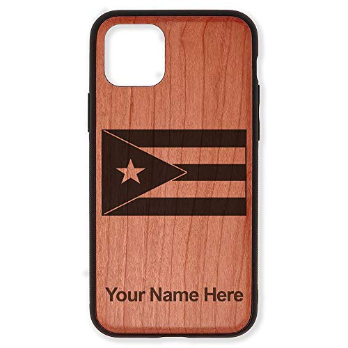Case Compatible with iPhone 11 Pro Max, Flag of Puerto Rico, Personalized Engraving Included (Cherry Wood), Includes Screen Protector