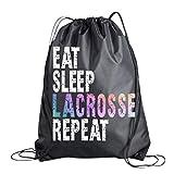 Lacrosse Drawstring Bag for Girls, Eat Sleep Lacrosse Repeat Backpack, Lacrosse Player Gift, Sport Pack Cinch Sack