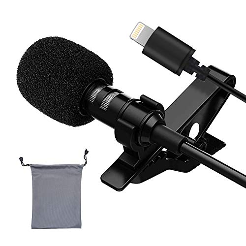 Lavalier Lapel Microphone- Professional Omnidirectional Lavalier Mic with Clip-on for iPhone iPad, Recording Mic for Youtube, Interview, Video (5-Foot Cord)