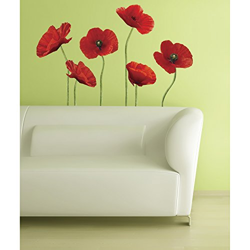 RoomMates RMK1729GM Poppies at Play Peel and Stick Giant Wall Decals