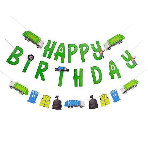 Garbage Truck Birthday Banner - Trash Truck Birthday Party Supplies - 3 Ready to Hang Banners Perfect for Garbage Truck Birthday Decorations