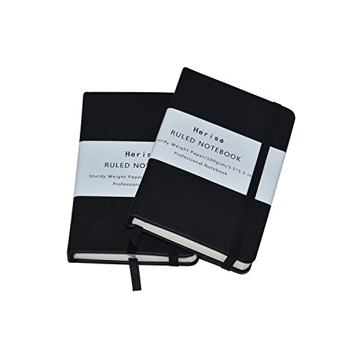 """2Pack Pocket Notebook Pocket Size 3.5"""" x 5.5"""" Hardcover Bound Journal Lined Paper Mini Notepad with Black Leather Bound for Journal Sketchbook Composition Notebook"""