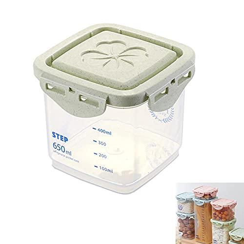 TAMRG Tarros de plástico herméticos con tapa de paja de trigo, caja organizadora para el frigorífico, para cereales, harina, azúcar, pasta, azul y verde