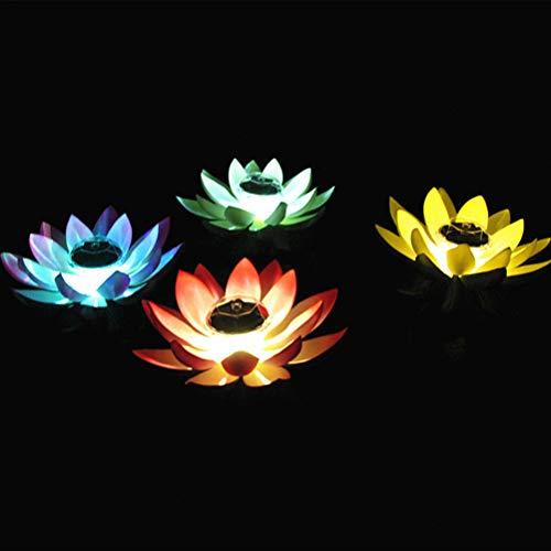 Uonlytech LED Schwimmende Lichter, Wasserdichte Lotus Blume LED Wunschlicht, Lotus Teich Lichter für Pool Garten (1Pcs, Gradienten Rampe)