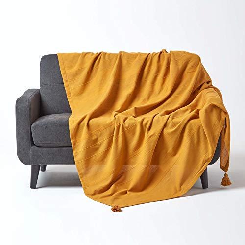 Homescapes extra große Tagesdecke Rajput, senfgelb, Wohndecke aus 100prozent Baumwolle, 255 x 360 cm, Sofaüberwurf/Couchüberwurf in RIPP-Optik