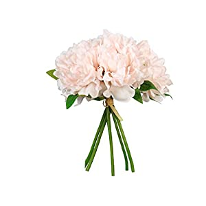 SN Decor Springs Flowers Artificial Silk 5 Heads Peony Bouquet Wedding Home Decoration, Pack of 1 (New Blush)