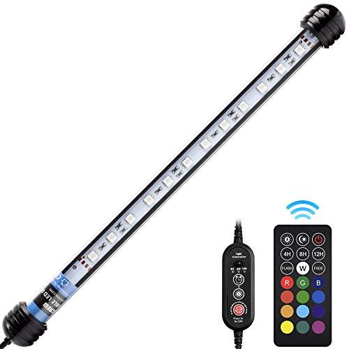 NICREW Luz Sumergible con Remoto Control y LED de Espectro Completo para Acuario, Luz Plantado Subacuática para Tanque con Pez, Lámpara Impermeable para Acuario