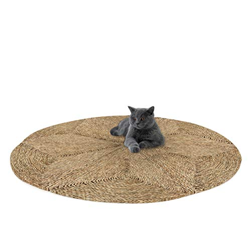 Made Terra Alfombra redonda tejida para sala de estar, dormitorio, alfombra trenzada antideslizante, plegable, fibra natural de pasto marino (mediana D120 cm)